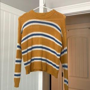 Cute yellow and white and blue striped sweater